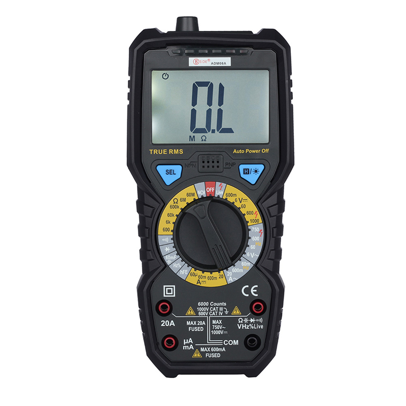 ADM08A 6000 Words True RMS Digital Multimeter Auto Range LCD Display Multimeter With Capacitance Frequency Diode NCV Test uni t ut70b lcd digital multimeter auto range frequency conductance logic test transistor temperature analog display