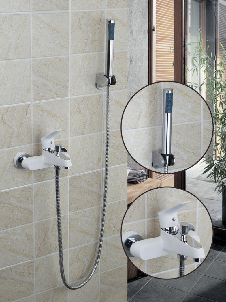 White Painting Bathroom Wall Mounted With Plastic Handle Shower Solid Brass Mixer Bathtub Faucet 97068  цены