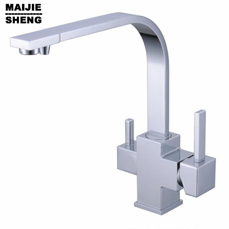 2017 Dual Handle square Torneira Cozinha Faucets Grifos Cocina Best Selling 3 In1 Kitchen Faucet Three