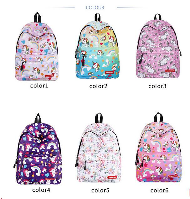 1 piece Cute Unicorn backpack horse Printing School Bag for Teenagers Girls Female Travel bag Mochila Escolar