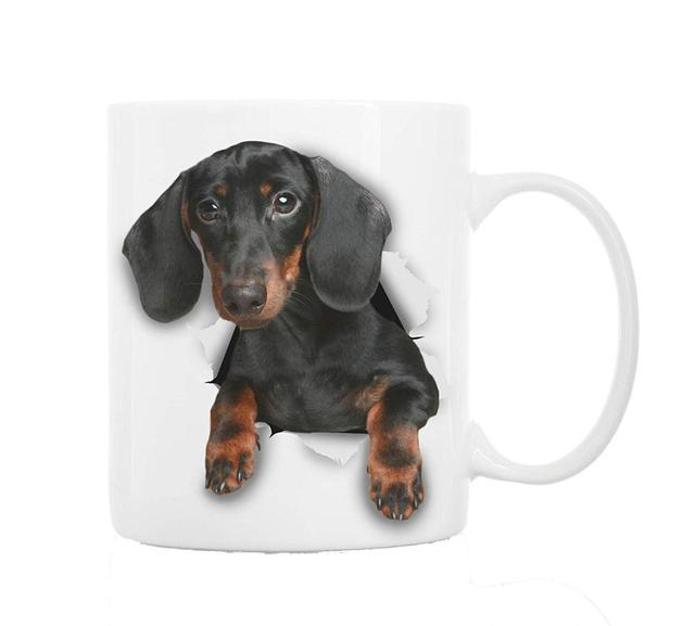 Lovely Cute Black Dachshund Dog Coffee Mug Tea Cup Funny 3d Jumping Out Dachshund Puppy Mugs Cups For Kids Daddy Birthday Gifts Mugs Aliexpress