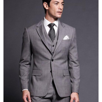 Custom Made Slim Fit Groom Tuxedos Gray Side Slit Best Man Notch Lapel Groomsman Men Suit ( jacket+Pants+vest+tie)