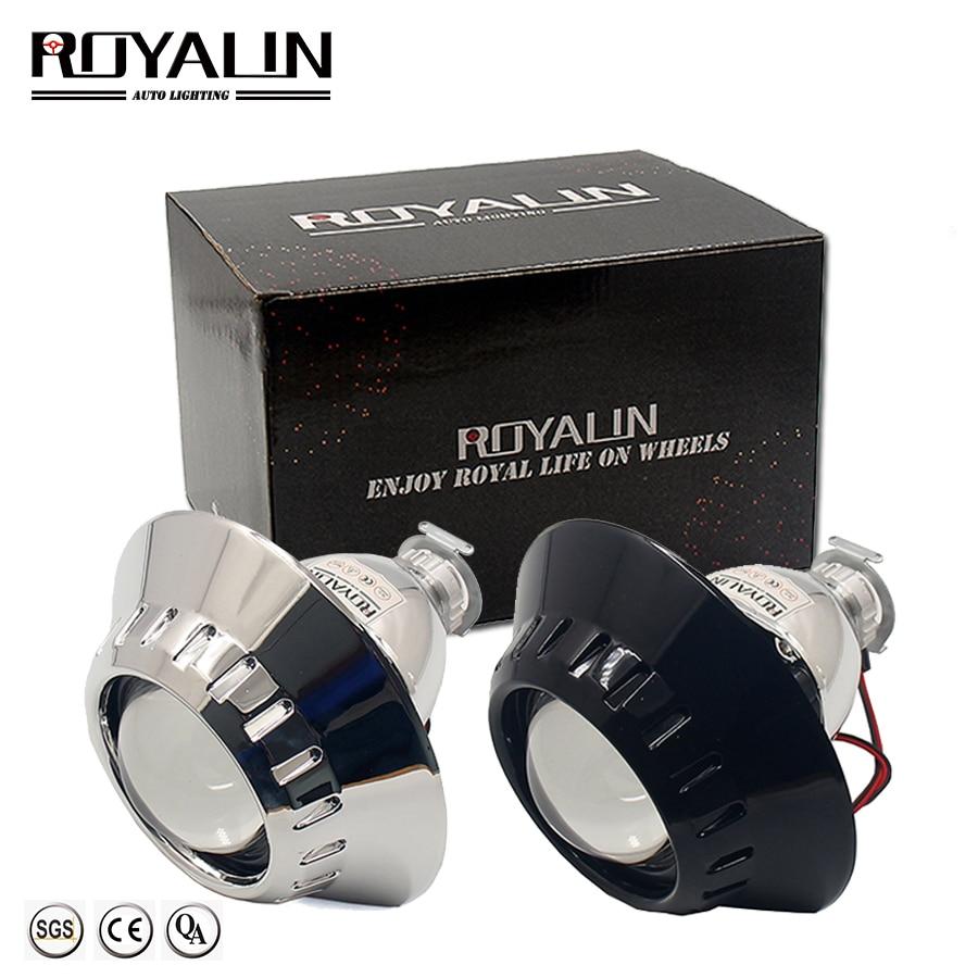 ROYALIN Bi Xenon Car Mini H1 Projector Lens W/ E46-R Shrouds For BMW M3 E90/E91/E92/E93 ZKW E46 External Retrofit Headlights