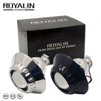 ROYALIN Bi Xenon Car Mini H1 Projector Lens w/ E46 R Shrouds for BMW M3 E90/E91/E92/E93 ZKW E46 External Retrofit headlights