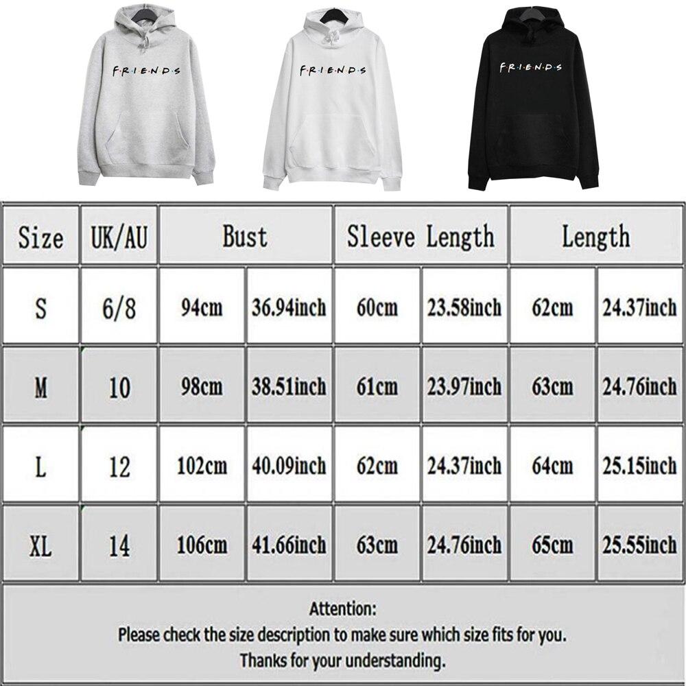 New Plus Size Streetwear Womens FRIENDS Print Hoodie Hoody Sweatshirt Ladies Pullover JumperMen Hoodies