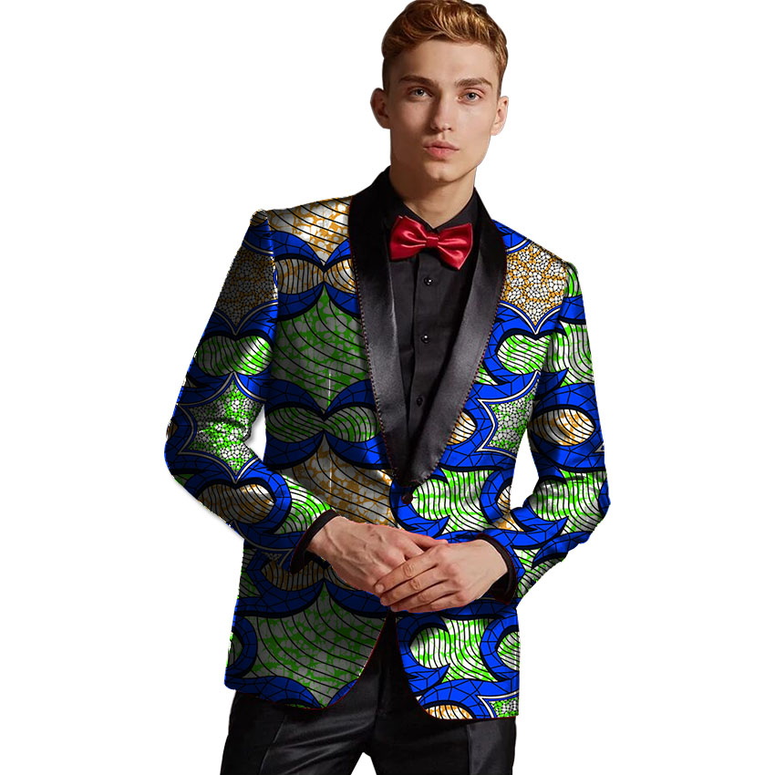 Fashion Africa Print Suit Jacket Men Blazers African Festive Man Blazer Single Breasted Costume African Men Clothing Customized
