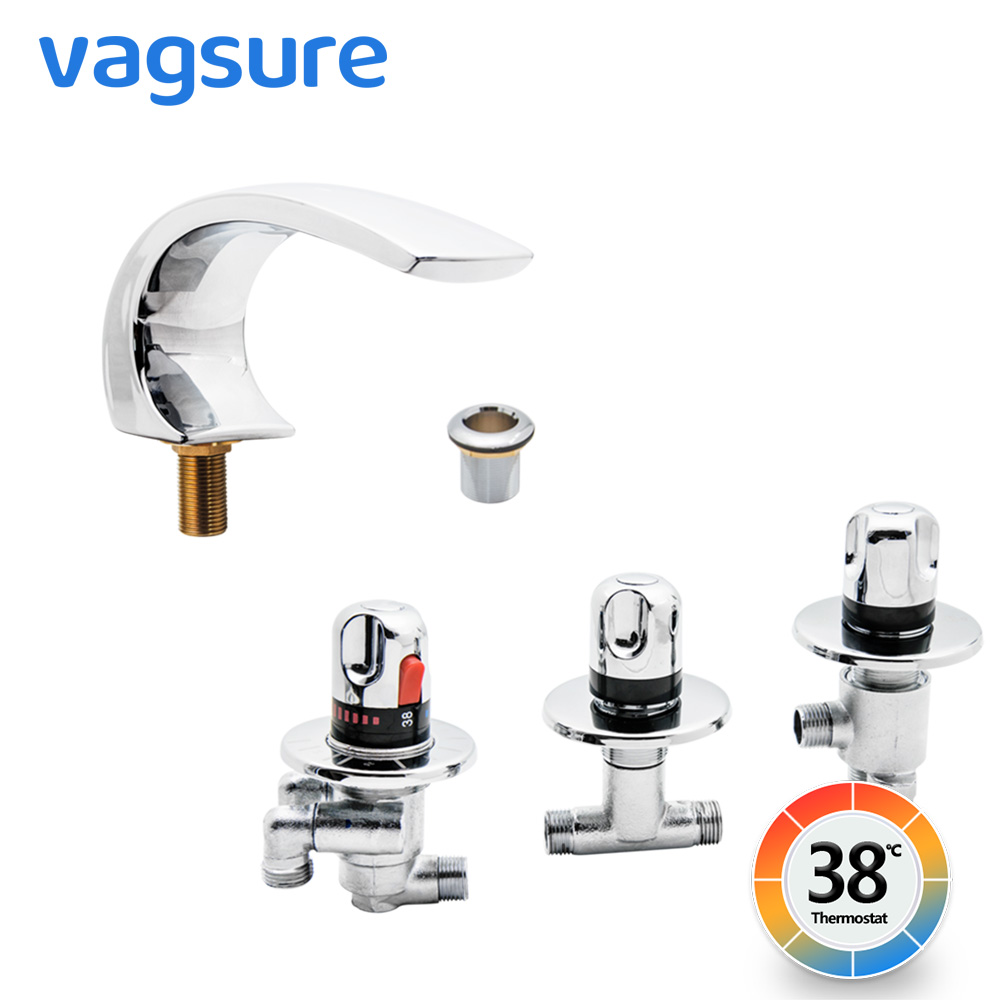 Modern Thermostatic Massage Bathtub Mixer Tap Waterfall Thermostatic  Bath Tub Shower Bath Faucet For Massage Bathtub And Shower