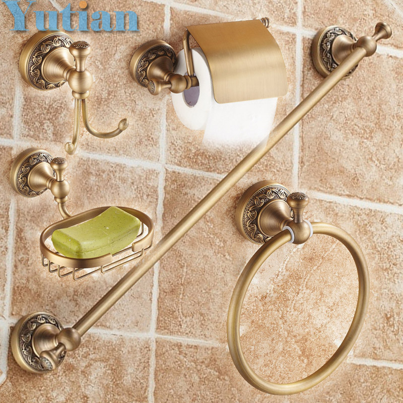 Free shipping,solid brass Bathroom Accessories Set,Robe hook,Paper Holder,Towel Bar,Soap basket,bathroom sets,YT-10600-5  free shipping solid brass bathroom accessories set robe hook paper holder towel bar bathroom sets antique brass finish yt 12200