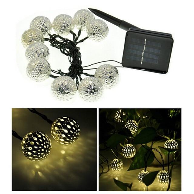 10PCS Ball 3.3M Moroccan String Light Warm white Energy-saving Lamp Solar Outdoor Powered LED Fairy String Light Xmas Decoration