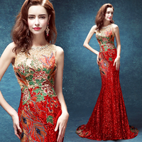 Luxury Trailing Long Cheongsams Sequins Embroidery Backless Qipao Robe Orientale Chinese Tradition Wedding Dress Mermaid