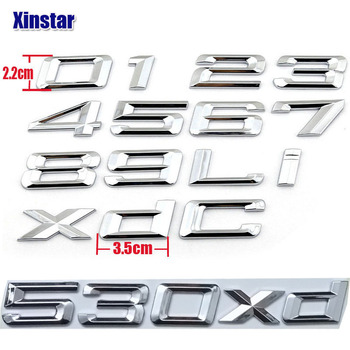 3D Auto Car Emblem Badge Rear 0 1 2 3 4 5 6 7 8 x d i Logo Sticker For BMW E46 E90 E60 E53 F30 F10 F20 118i 320d 530i 520i 530xd image