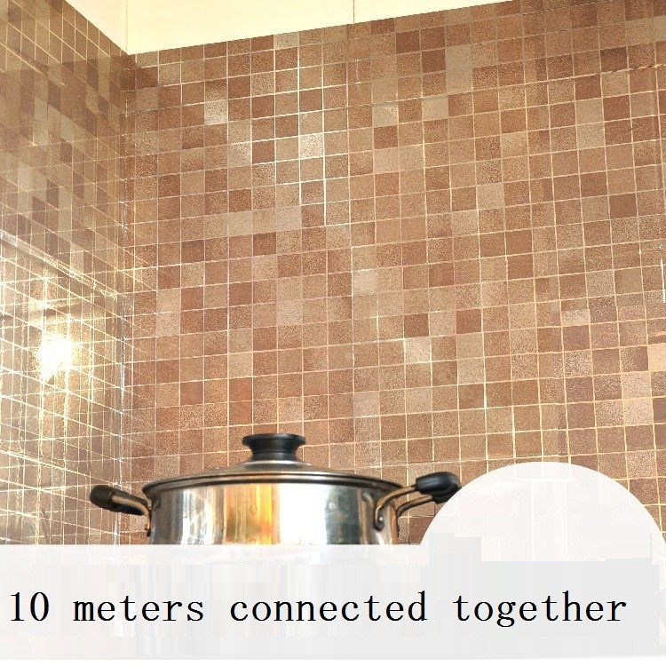 Vinyl Mosaic Oilproof Wall Paper Paste Bathroom Stickers Aluminum Foil Self Adhesive  Wallpaper Waterproof Kitchen Wall Sticker In Wallpapers From Home ...
