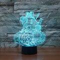 Ilusão mágica 3D Criativo Lâmpada LED Luzes da Noite Dos Desenhos Animados Projeto de Tanque Novidade Acrílico 7 Mudando A cor Atmosfera Candeeiro de Mesa