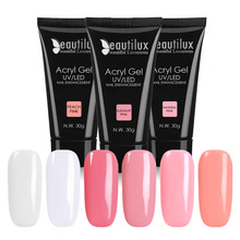 1pc Nail Art UV LED Klar Mjölk Vit Rosa Poly Acryl Builder Gel Polish För Extension 30g