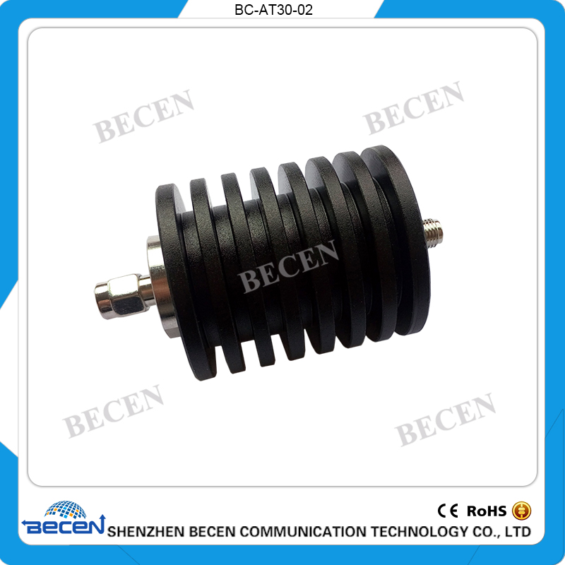 BECEN,30W SMA Male to SMA Female Coaxial RF Attenuator , DC-3GHz ,50 ohm,1db,3db,5db,6db,10db,15db, 20dB,30db,40db Free Shipping 10w n jk rf coaxial attenuator dc 3ghz 50 ohm 1db 3db 5db 6db 10db 15db 20db 30db free shipping