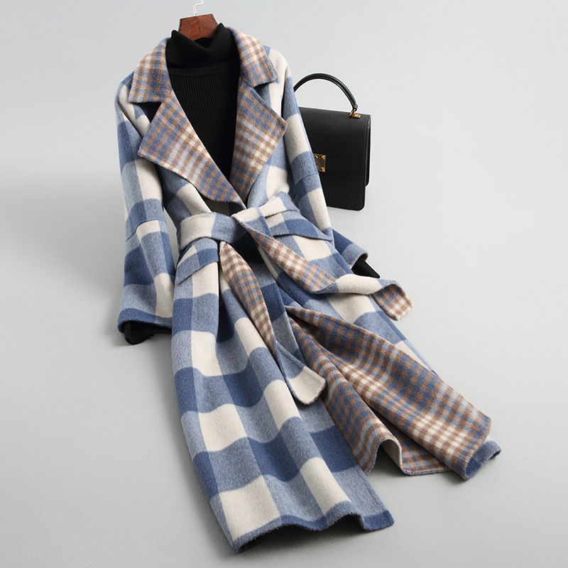 2019 New Plaid Double-sided Cashmere Coats Fashion Ladies Female Real Wool Coat Women A030