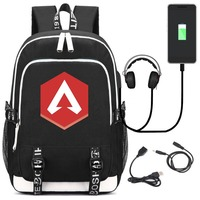 Game Apex Legends USB Backpack Student School Bag Bookbag for teenagers Cartoon Laptop Shoulder Travel Bags Gift
