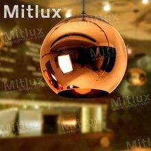Бесплатная доставка современный зеркальный шар люстра из светодиодов подвеска глобус зеркало стеклянный шар пузырь лампы рождество светильник