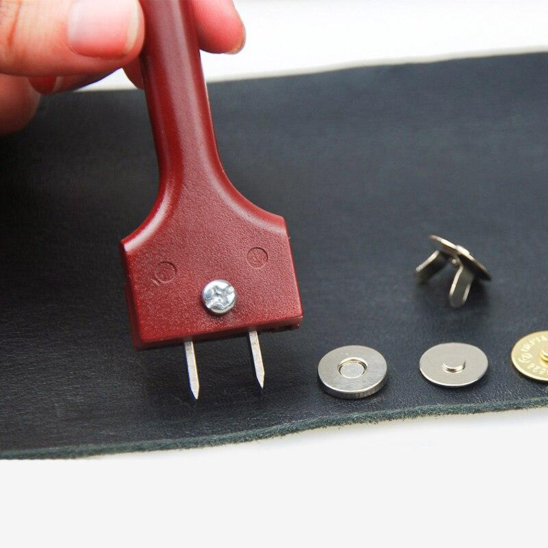 Ferramenta de couro ajustável diy ferramenta de artesanato garfo perfurador botão magnético fivela ferramenta de instalação 4-25mm buraco espaçamento manual