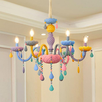 Art Deco cartoon colourful LED crystal chandelier lights Macaroon Princess' room girls' bedroom chandeliers with remote control
