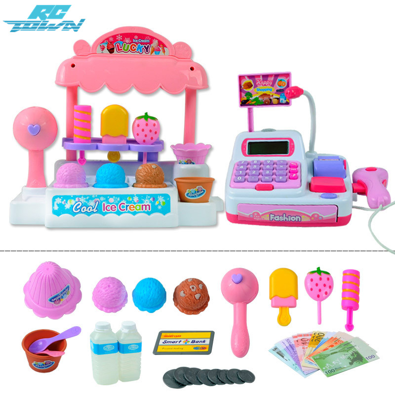 RCtown Children Pretend Play Toy Set Ice Cream Shop Cash Register with Realistic Actions and Sounds Gift for Kids zk30