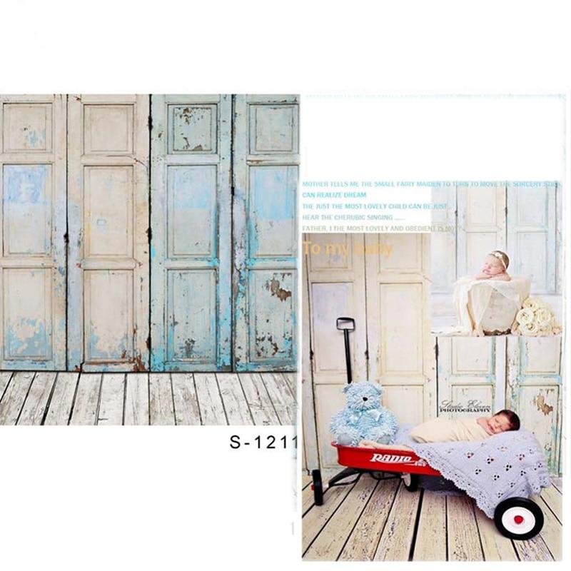 새벽 나무 문 비닐 사진 배경 우드 층 어린이를위한 새로운 패브릭 폴리 에스테르 배경 사진 스튜디오 소품 1211