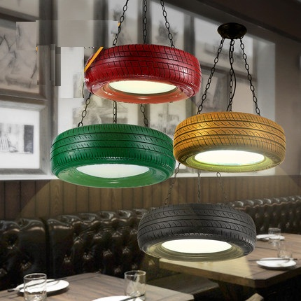 Loft Style Color Rubber Tyre Droplight LED Pendant Light Fixtures For Dining Room Bar Hanging Lamp Vintage Industrial Lighting
