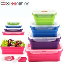 BalleenShiny Silicone Collapsible Portable Bento Box Microwave Oven Bowl Foldable Food Storage Container Lunchbox Tableware