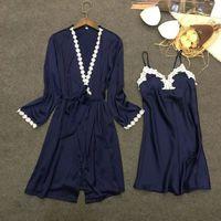 מתכוונן נשים Nightwear הלבשת נשית אופנה נשים חלוק כותנות לילה V-צוואר מלא שרוולי תחרה פרחוני סאטן גלימות