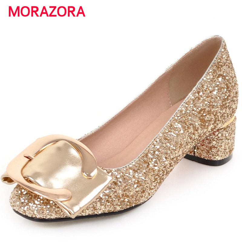 MORAZORA Large Size 34-43 Square Toe Med Heels Shoes 4.5cm Fashion Spring Shoes Woman Shallow Solid Party Shoes Women Pumps