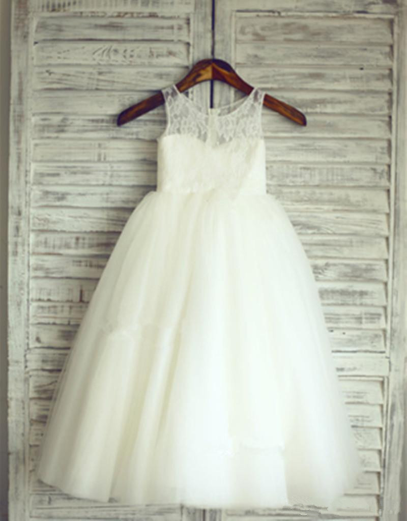 Nouveauté 2019 robes de demoiselle d'honneur pour les mariages a-ligne Tulle dentelle longues robes de première Communion pour les petites filles