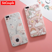 SoCouple Unicorn Animal Horse Case Soft TPU Phone Cases For iPhone 7 7Plus 8 8plus X For iphone 6S 6Plus Bird Silicone Case