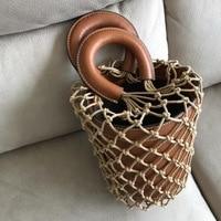 Korean Japanese Ins Popular Hollow Net Bags Chic Women Bucket Tote Bag Barrel Shaped Lady Vintage