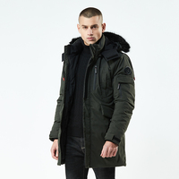 2019 Long Parka Men Thick Cotton Padded Down Warm Cold Coat Male Designer China Red Black Autumn Fur Hooded Winter Jacket Men