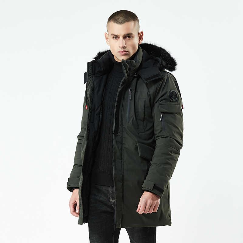 2020 uzun Parka erkekler kalın pamuklu yastıklı aşağı sıcak soğuk ceket erkek tasarımcı çin kırmızı siyah sonbahar kürk kapşonlu kış ceket erkekler