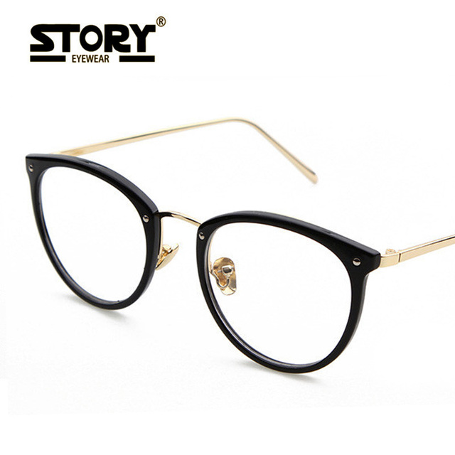 b43cae60a25 STORY Men black gold Eyeglasses Frame Vintage Spectacles Oval Computer  Glasses 2017 Fashion Eyeglasses UV400