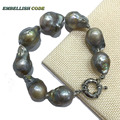 huge plus size gray grey color tissue nucleated flame ball shape baroque Bracelet or keshi pearl freshwater 100% natural special