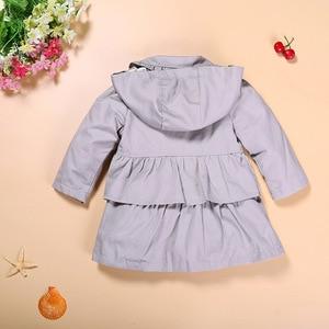 Image 3 - Hooyi niños Tench abrigo sudaderas con capucha gris bebé niña abrigo niños chaqueta bebé niña ropa trajes gabardina ropa de abrigo con capucha puente 1 5Y