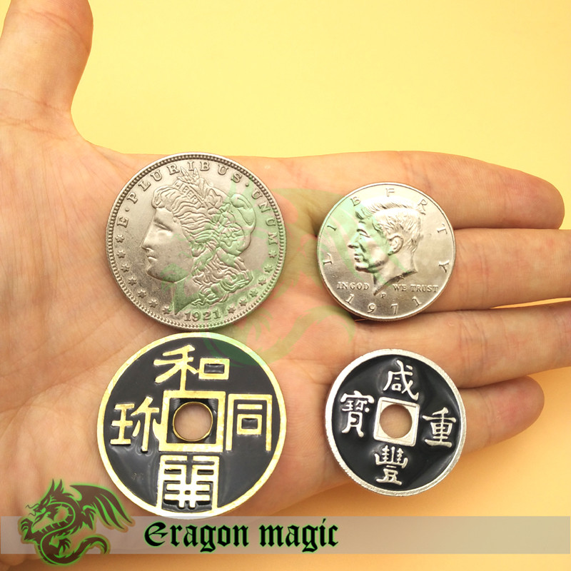 Kinesisk Half Dollar Morgen Japansk 4 Mønter Bundle Salg Gratis Levering Sammen Eragon Magic Tricks Legetøj Props