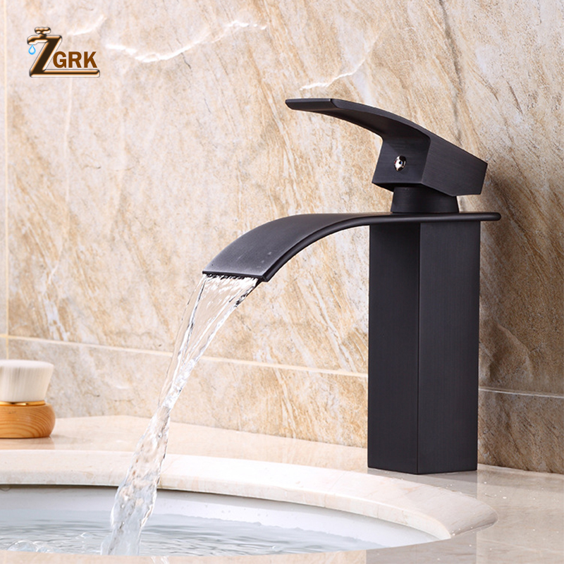 ZGRK Basin Faucet Modern White Bathroom Faucet Waterfall faucets Single Hole Cold and Hot Water Tap Black Basin Faucet Mixer Tap
