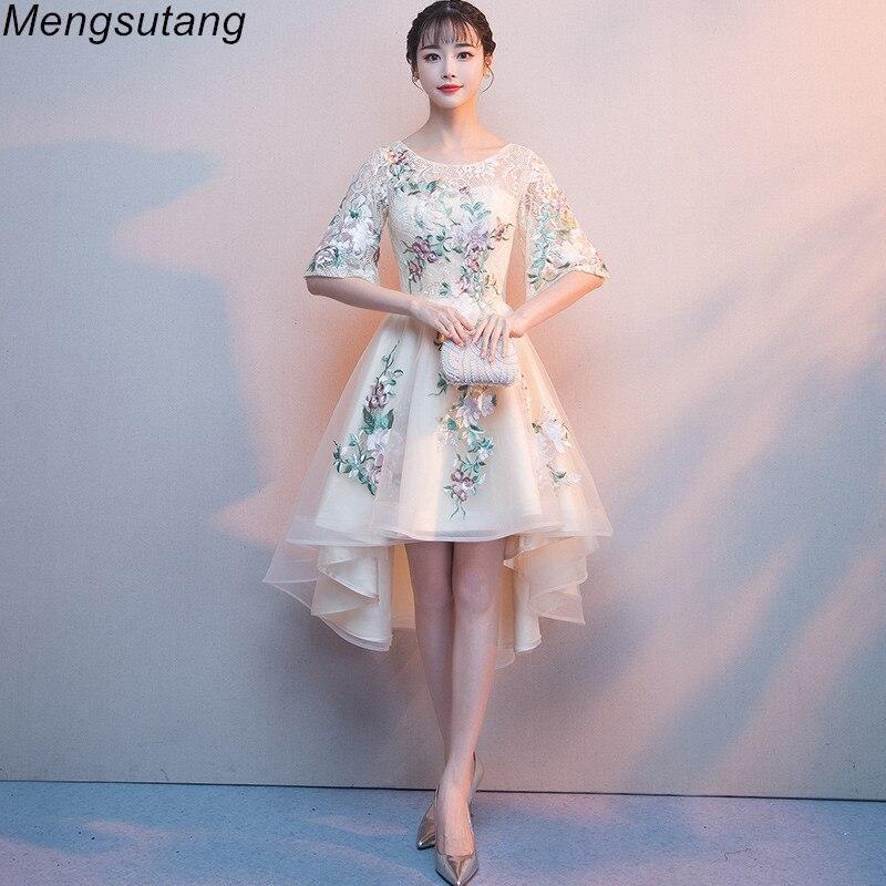 Robe de soiree Champagne lace vestido de festa   evening     dress   with Appliques Short Front Long Back Party   Dresses   prom   dresses