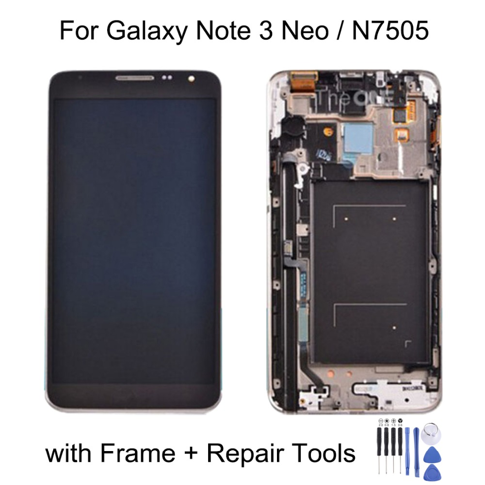New for Original LCD Display + Touch Panel with Frame for Galaxy Note 3 Neo / N7505  Repair, replacement, accessories