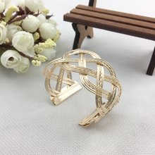 Luxurious Gold/Silver Plated Personality Exaggerate Wide Side Opening Cross Alloy Bracelets Bangles Jewelry For Women