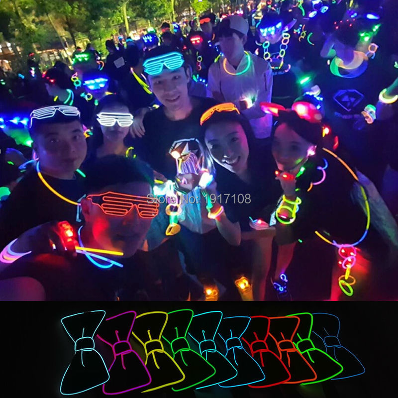 2017 New Design Fashion Light 10 Color Light Up LED Bow Tie glowing EL wire Bow Tie For DJ,bar,club and Evening Party Decoration