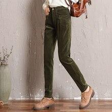 6639917186d122 Pantaloni di velluto a coste per le donne a vita alta verde grigio rosso  marrone plus