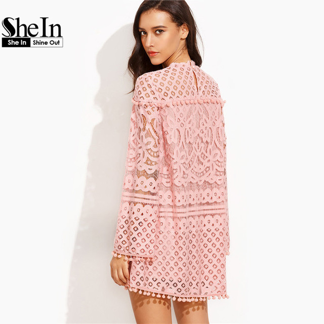 SheIn Woman Summer New Style Boho Dresses Ladies Pink Crochet Pom-pom Trim Round Neck Long Sleeve Casual Dress