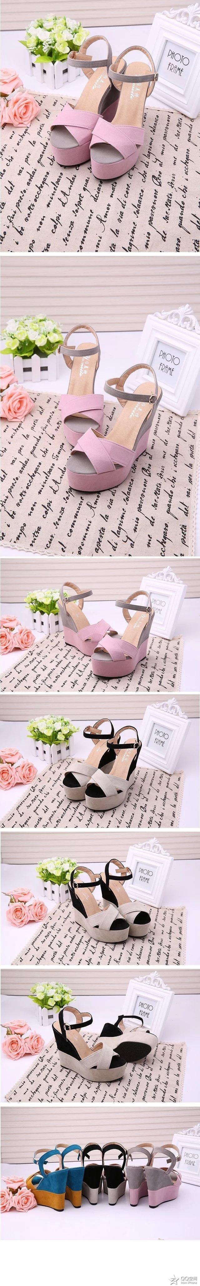 2018 Women Fish Mouth Platform High Heels Wedge Sandals Buckle Slope Sandals Women's High Heel Shoes 4