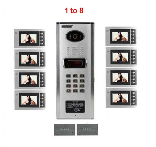 New ArrivalTop quality building Home security Video Intercom System 4.3 LCD Video Door Phone IR Video Doorbell For 8-Apartments