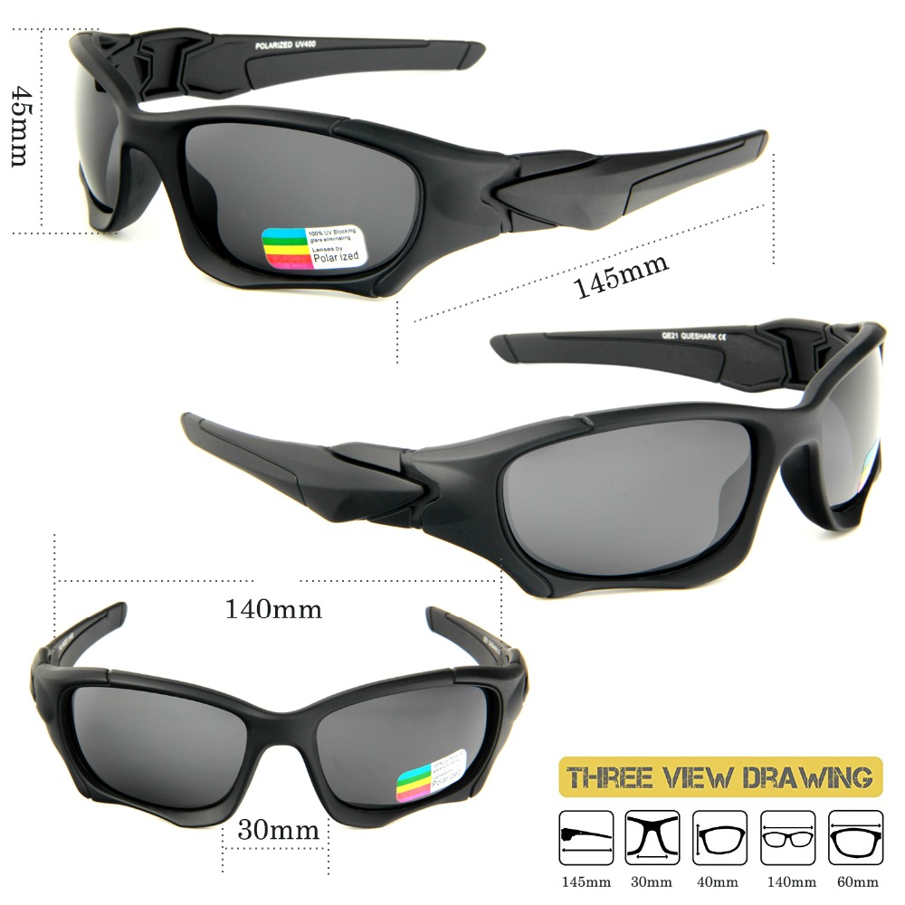 bff12e58de Queshark UV400 Polarized Fishing Glasses Outdoor Sports Cycling Sunglasses  Ultra Light TR90 Frame Hiking Eyewear for Men Women