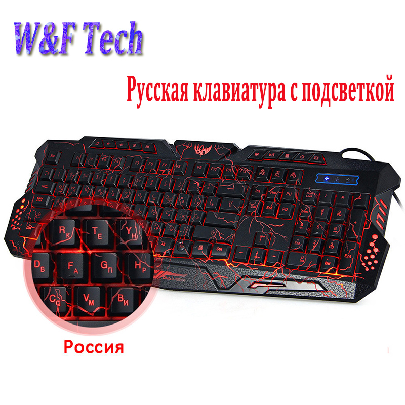 Russian / English Gaming Keyboard LED 3 Colors Backlit M200 USB Wired Keyboard Powered Full N-Key for LOL Dota 2 Computer Laptop russian english game keyboard usb wired rgb backlit keyboard 3 color switchable led light for laptop computer gamer